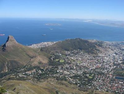Stunning Views from Table Mountain with Lions Head, Signal Hill and Robben Island
