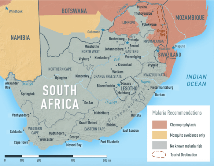 Malaria Map South Africa 2020 - CDC