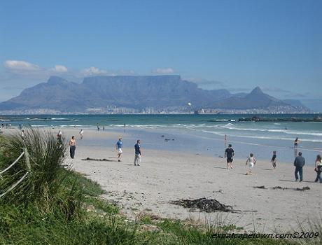 View from Big Bay Beach towards Cape Town with Table Mountain