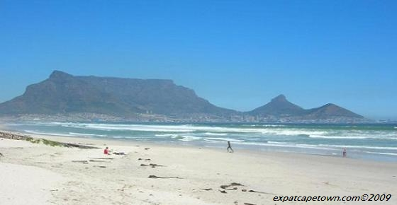 Famous view from Blaauwberg Beach in Cape Town