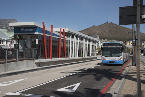 Cape Town public transport by MyCiti Bus - Waterfront busstop - image by Peter Titmuss/ssk