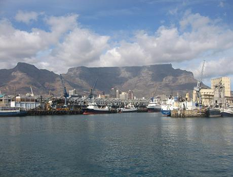 From Robben Island Ferry towards Cape Town's Table Mountain