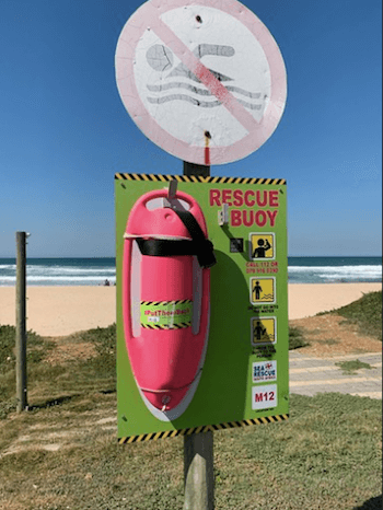 Pink Rescue Buoys - Image by NSRI/Andrew Ingram