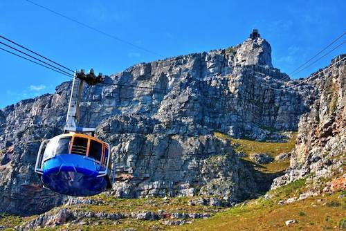 Cape Town Table Mountain with cable way cabin - image by shutterstock