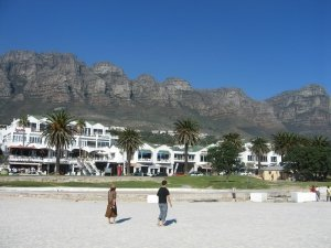 Camps Bay Beach with Twelve Apostles Mountains