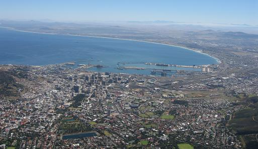 Views towards Table Bay with Cape Town Harbour